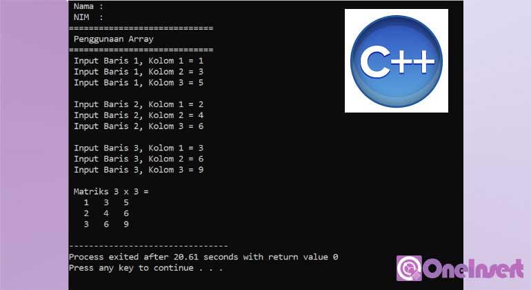 C++ Membuat Array Matrik Perkalian 3