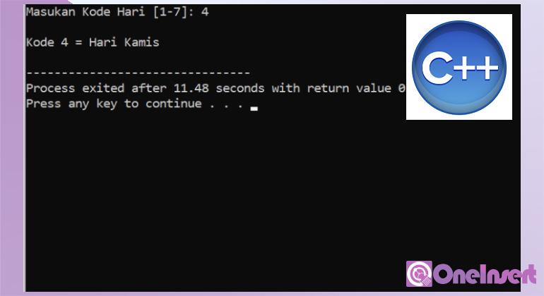 C++ Program Menentukan Kode Pada Hari