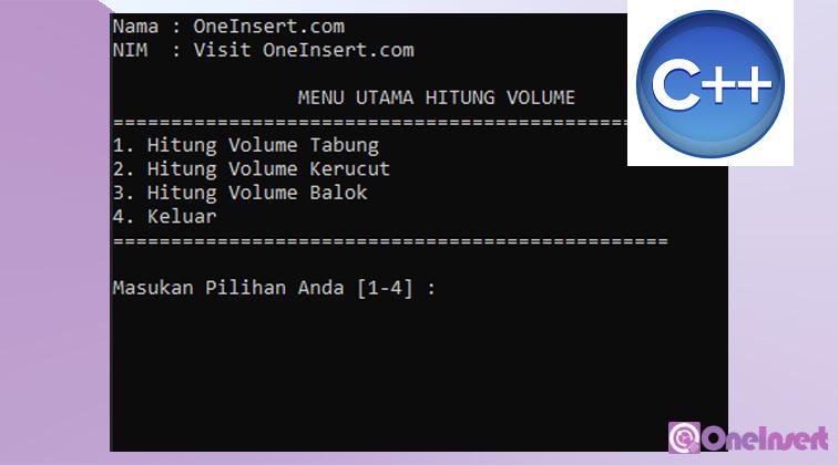 C++ Program Utama Hitung Volume | Tabung, Kerucut, Balok