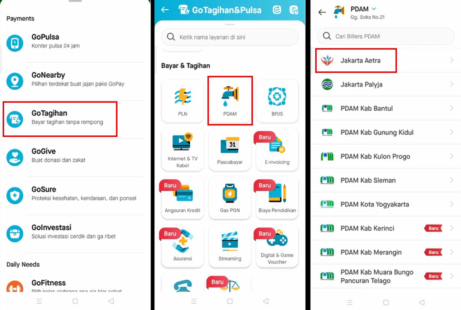 Cara Bayar PDAM Aetra Jakarta Pada Aplikasi Gojek Dengan GoPayLater